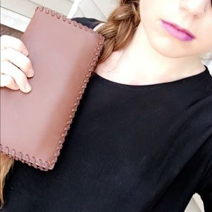 AllSaints Fleur De Lis Leather Continental Wallet